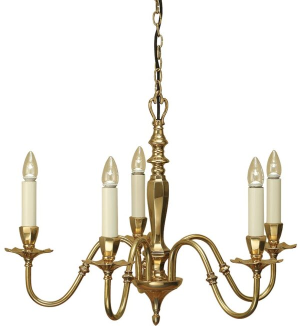 Asquith Victorian Style Solid Cast Brass 5 Light Chandelier