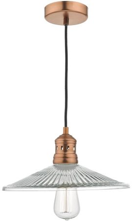 Adeline Antique Copper 1 Light Pendant With Glass Shade