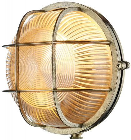 David Hunt Admiral Round Solid Natural Brass Outdoor Bulkhead Light