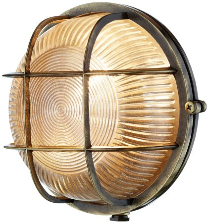 David Hunt Admiral Round Solid Antique Brass Bulkhead Light IP64
