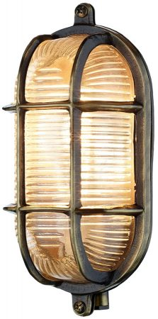 David Hunt Admiral Oval Solid Antique Brass Outdoor Bulkhead Light