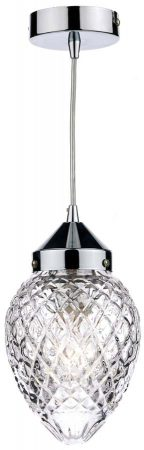 Dar Agatha Acorn Cut Glass Pendant Light Polished Chrome