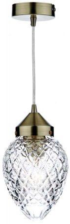 Dar Agatha Acorn Cut Glass Pendant Light Antique Brass