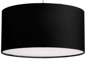 Dar Almeria 40cm Black Drum Pendant Lamp Shade