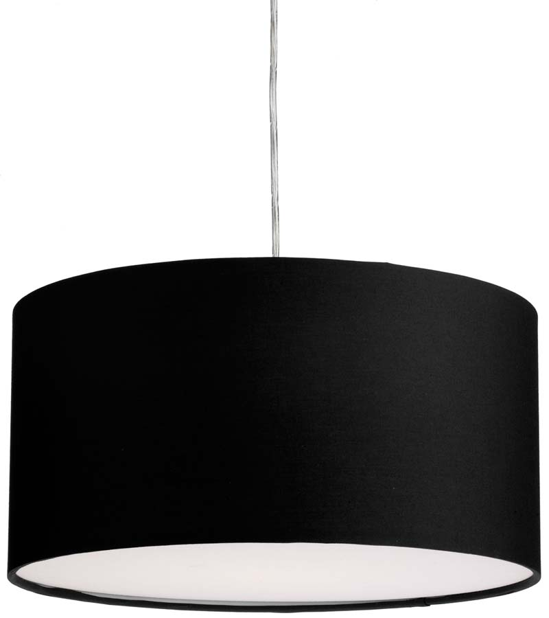 Dar Almeria 40cm Black Drum Pendant Lamp Shade ALM1622