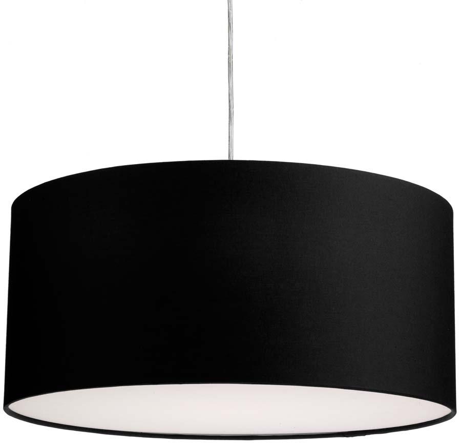 Dar Almeria 50cm Black Drum Pendant Lamp Shade ALM2022