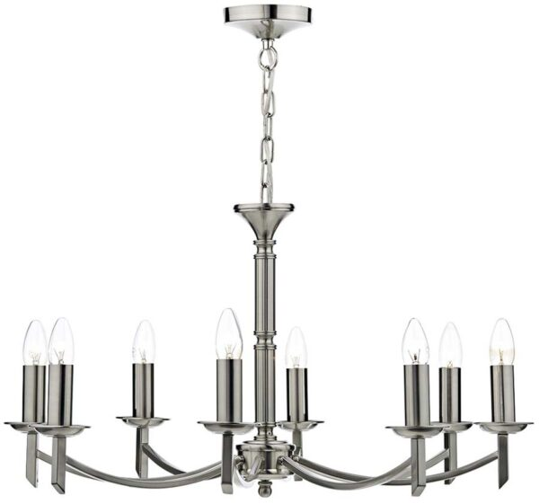 Dar Ambassador 8 Light Dual Mount Chandelier Satin Chrome