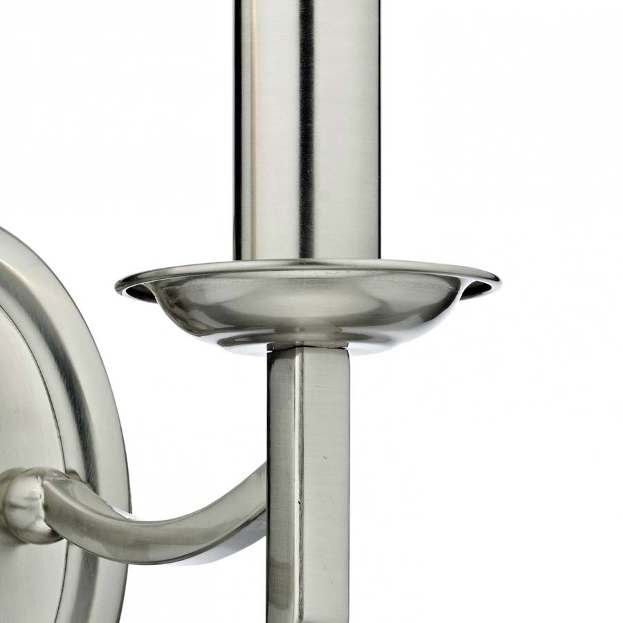 Dar Ambassador Switched 2 Lamp Wall Light Satin Chrome AMB0946