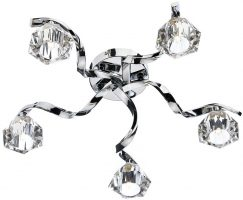 Dar Ancona Modern 5 Lamp Flush Ceiling Light Chrome