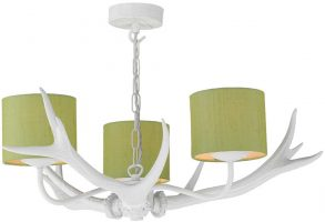 David Hunt Antler 3 Light Rustic White Chandelier Silk Shades