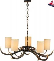 David Hunt Antler 5 Light Highland Rustic Chandelier Cream Shades