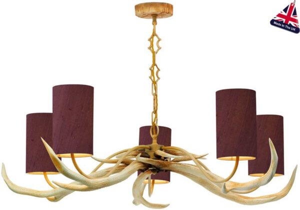 David Hunt Antler 5 Light Rustic Cream Chandelier Silk Shades