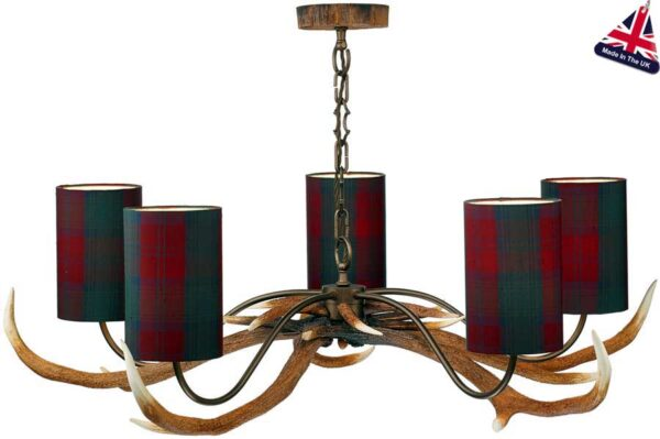 David Hunt Antler 5 Light Highland Rustic Chandelier Tartan Shades