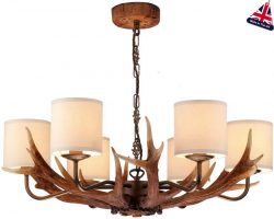 David Hunt Antler 6 Light Highland Rustic Chandelier Cream Shades