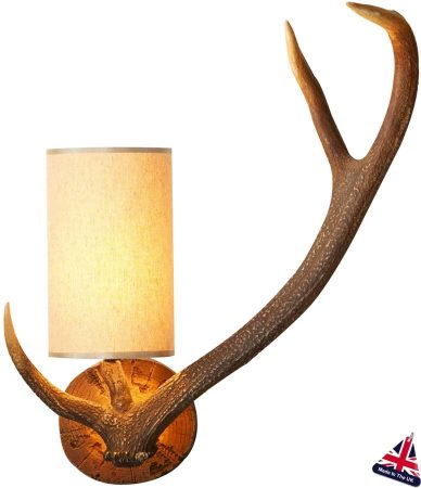 David Hunt Highland Rustic Antler Wall Light Right Hand UK Made