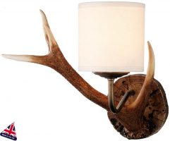 David Hunt Antler Small Highland Rustic Wall Light Cream Shade