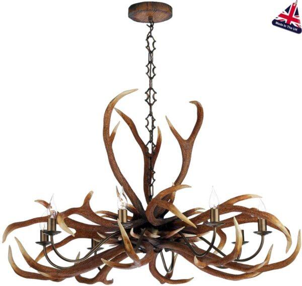 David Hunt Antler 8 Light Highland Rustic Chandelier UK Made