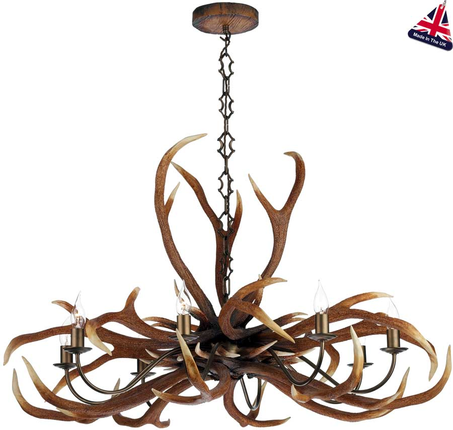 David hunt antler 8 light highland rustic chandelier uk made ant0829e david hunt antler 8 light highland rustic chandelier uk made mozeypictures Image collections