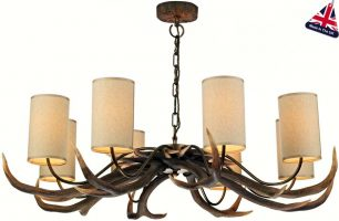 David Hunt Antler 8 Light Highland Rustic Chandelier Cream Shades