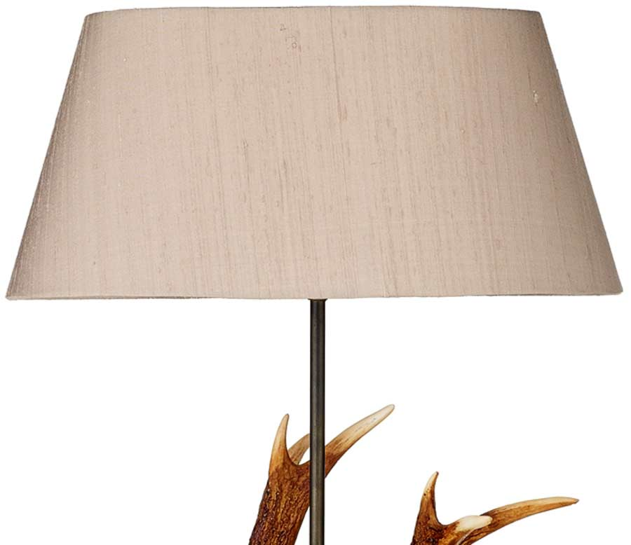 David Hunt Antler Highland Rustic Small Table Lamp Silk Shade