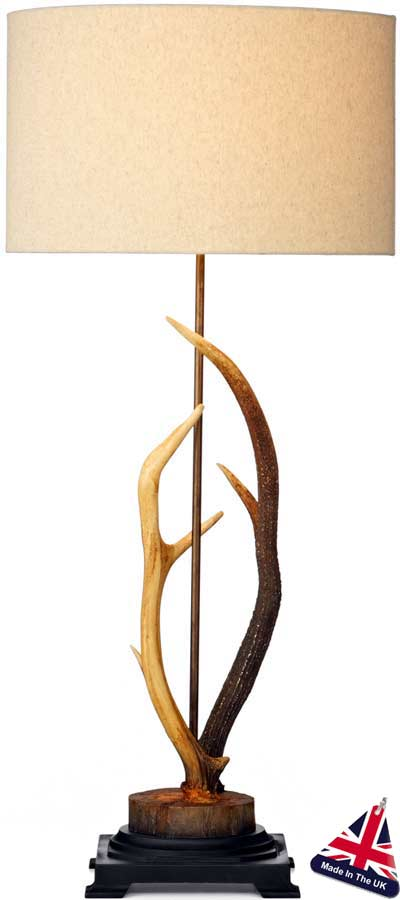 David Hunt Antler Highland Rustic Table Lamp With Cotton Shade