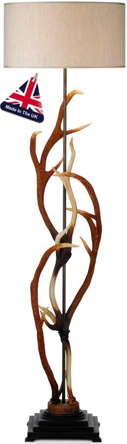 David Hunt Antler Highland Rustic Floor Lamp With Cotton Shade