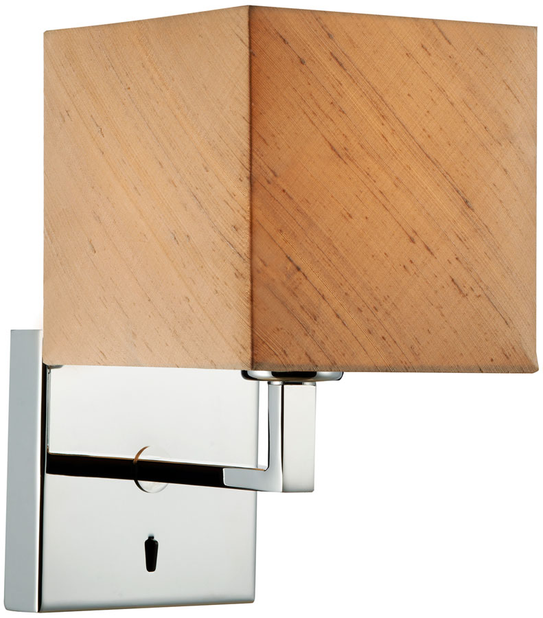 Dar Anvil Modern Chrome Switched Wall Light Silk Shade ANV0750F-ANV07