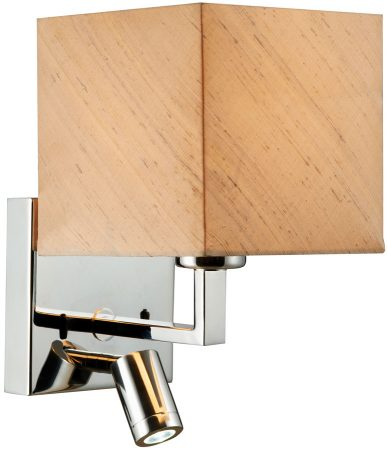 Dar Anvil Modern Chrome Switched LED Wall Light Silk Shade