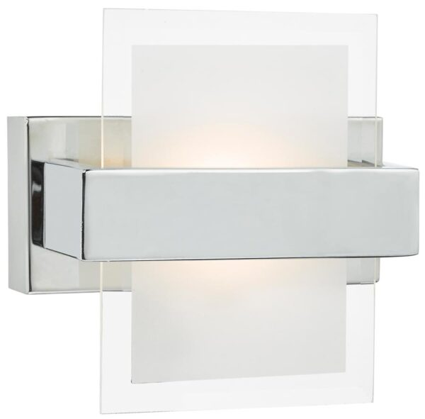 Dar Apt Chrome 6w LED Switched Wall Light With Glass