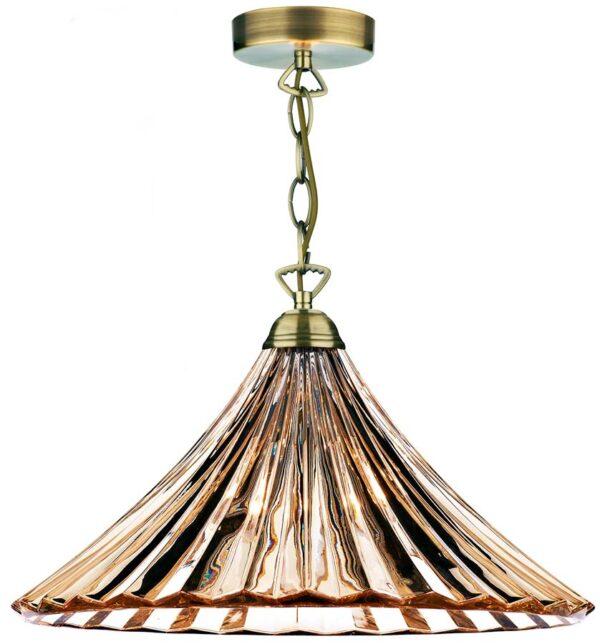 Dar Ardeche Fluted Amber Glass 1 Light Ceiling Pendant Brass