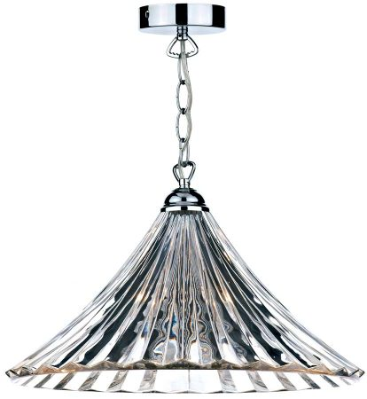 Dar Ardeche Fluted Glass 1 Light Ceiling Pendant Chrome