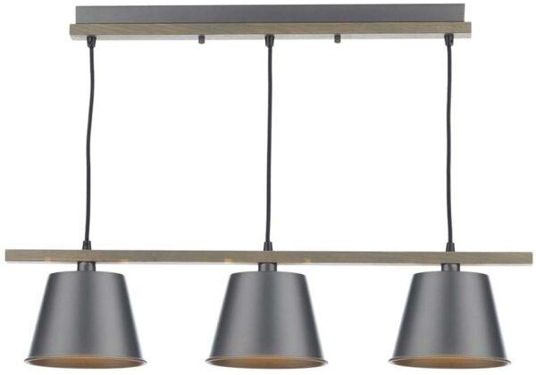 Dar Arken Modern Wooden Ceiling Pendant Silver Metal