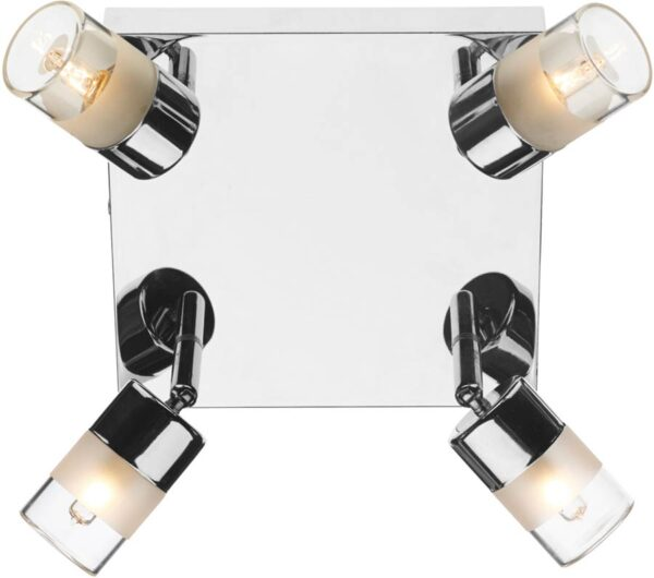 Dar Artemis 4 Lamp Bathroom Ceiling Spotlight Plate Chrome