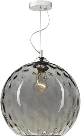 Dar Aulax Chrome 1 Light Dimpled Smoked Glass Pendant