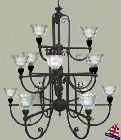 Victorian 15 Light Replica Gas Lamp Chandelier UK Made