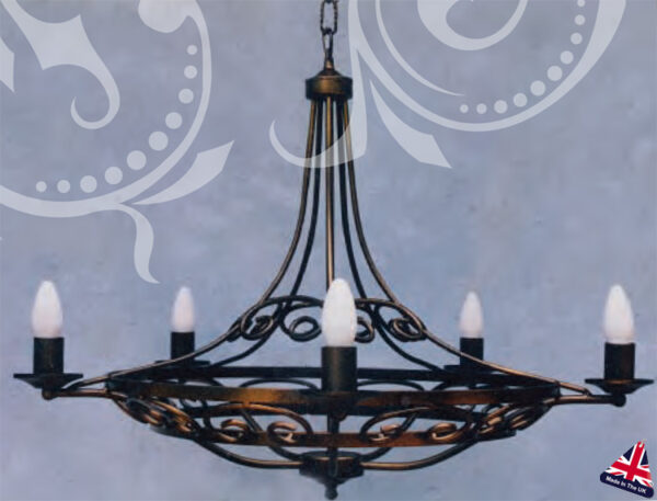Orchid Wrought Iron Scroll 6 Arm Gothic Ceiling Light UK Made