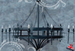 Double Cartwheel Wrought Iron 12 Light UK Made
