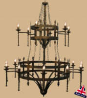 Large Double Cartwheel Wrought Iron 18 Light UK Made