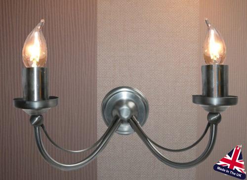 Tuscany Wrought Iron 2 Lamp Wall Light UK Made