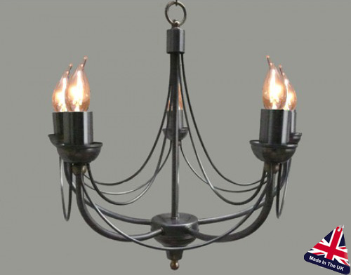 Tuscany Wrought Iron 5 Light Chandelier UK Made