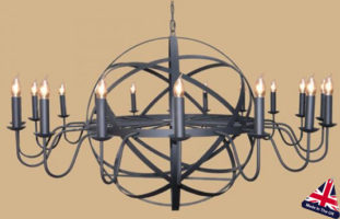 Archimedes Very Large 18 Light Wrought Iron Orb Chandelier