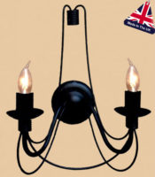 Camelot Italian Style Wrought Iron 2 Lamp Wall Light