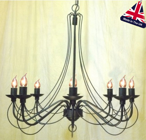 Camelot Italian Style Wrought Iron 8 Light Chandelier