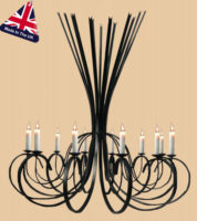 Tower Large Italian Style Wrought Iron 12 Light Chandelier UK Made