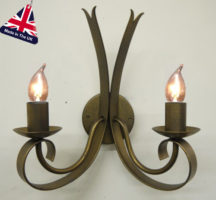 Tower Italian Style Wrought Iron 2 Lamp Wall Light UK Made