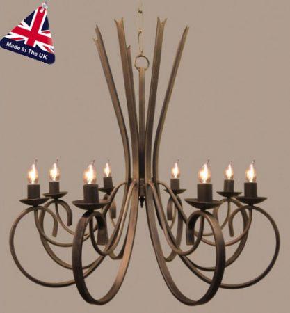 Tower Italian Style Wrought Iron 8 Light Chandelier UK Made