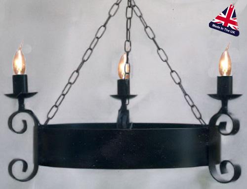 Scroll Small Wrought Iron Cartwheel 3 Light Fitting UK Made