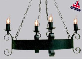 Scroll Small Wrought Iron Cartwheel 4 Light Chandelier UK Made