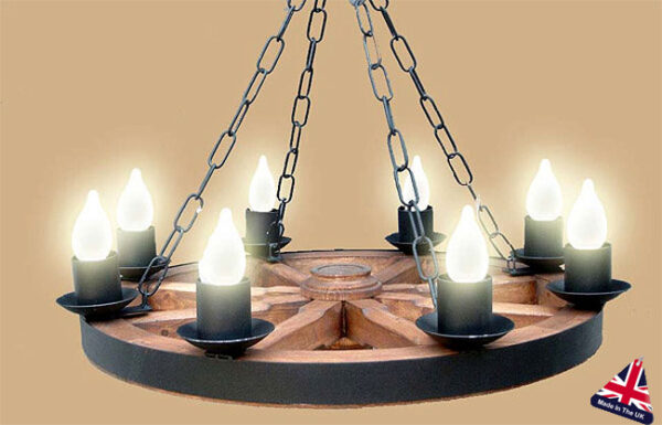 Wooden Cartwheel Wrought Iron 8 Light UK Made