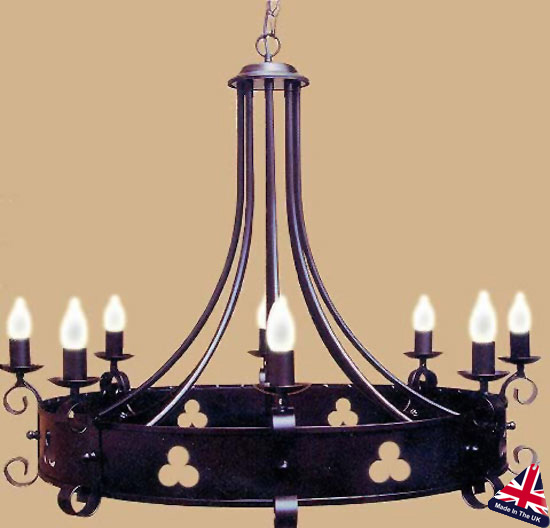 Portcullis Wrought Iron Cartwheel 8 Light Shamrock Chandelier